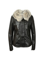 Ocelot Leather Jacket With Fur