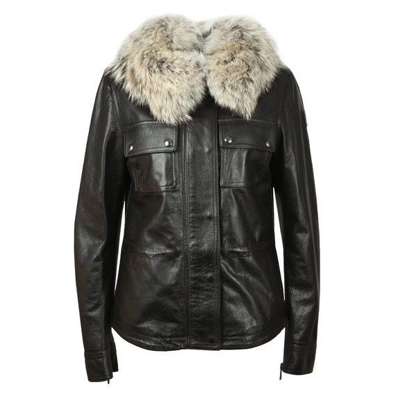 Belstaff Womens Black Ocelot Leather Jacket With Fur main image