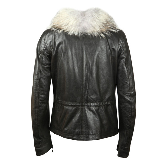 Belstaff Womens Black Ocelot Leather Jacket With Fur