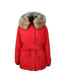 Belstaff Womens Red Dawlby Down With Fur Jacket
