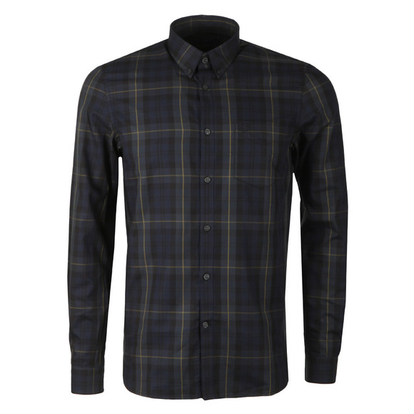 Fred Perry Mens Blue Contrast Stripe Tartan Shirt main image