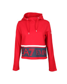 EA7 Emporio Armani Womens Red Large Logo Overhead Hoody