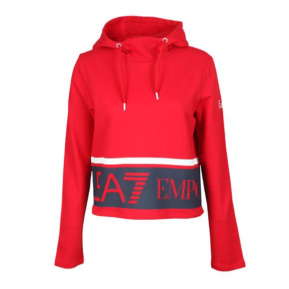 EA7 Emporio Armani Womens Red Large Logo Overhead Hoody main image