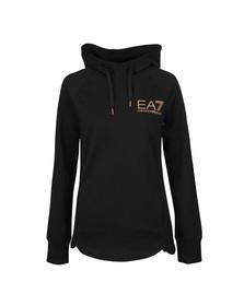 EA7 Emporio Armani Womens Black Gold Glitter Logo Overhead Hoody