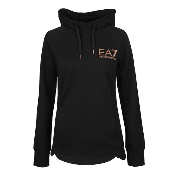 EA7 Emporio Armani Womens Black Gold Glitter Logo Overhead Hoody main image