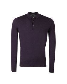 John Smedley Mens Purple Belper Long Sleeve Polo Shirt