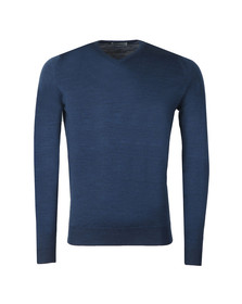 John Smedley Mens Blue Shipton V Neck Pullover