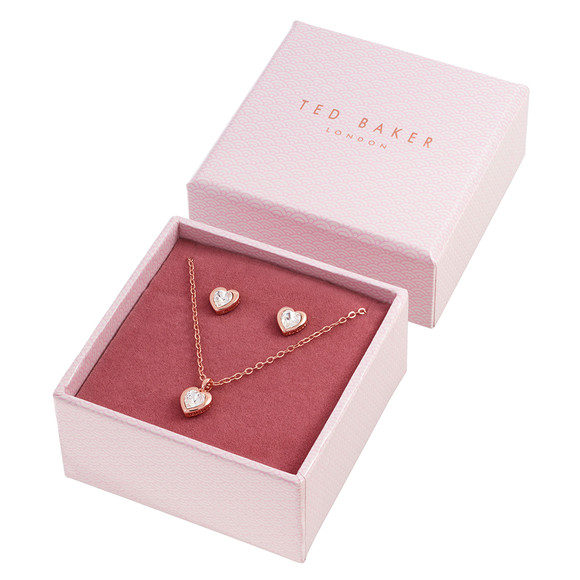 Ted Baker Womens Pink Rose Gold Hadeya Crystal Heart Gift Set main image
