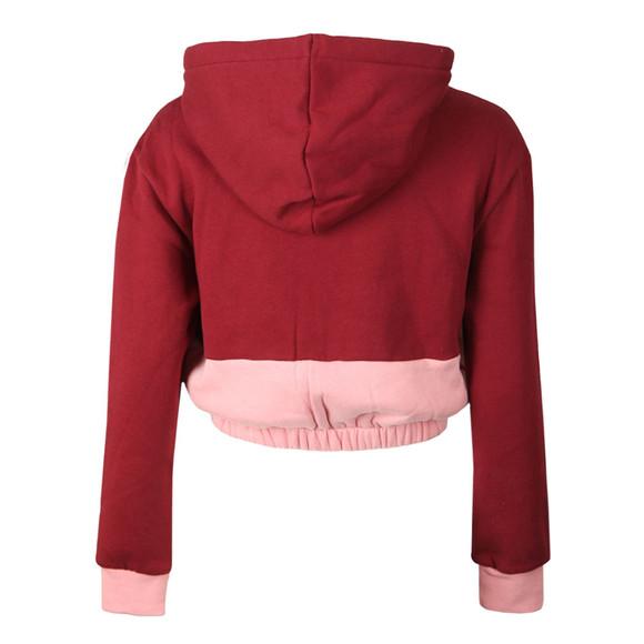 Fila Womens Red Dora Iridescent & Fleece Mix Crop Hoody main image