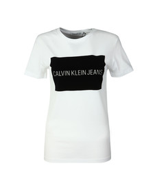 Calvin Klein Jeans Womens White Institutional Flock T Shirt