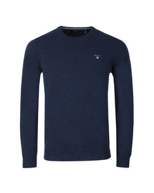 Gant Mens Blue Super Fine Lambswool Crew Jumper