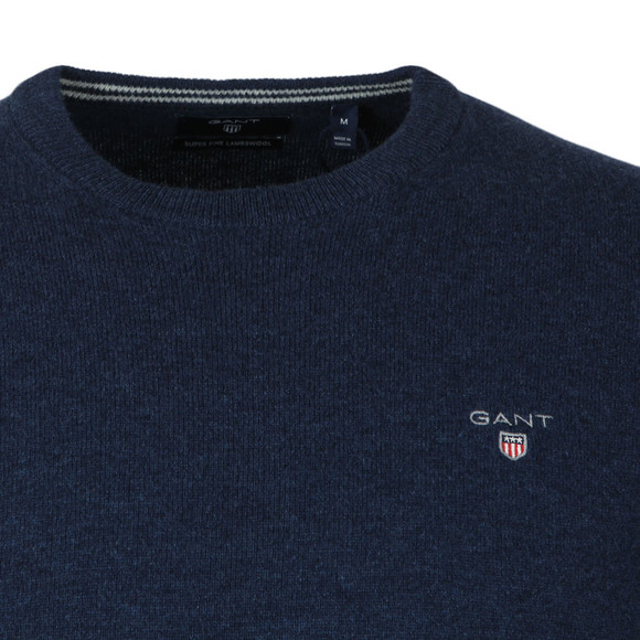 Gant Mens Blue Super Fine Lambswool Crew Jumper main image