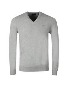 Gant Mens Grey Superfine Lambswool V-Neck Jumper