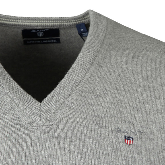 Gant Mens Grey Superfine Lambswool V-Neck Jumper main image