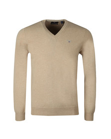 Gant Mens Beige Superfine Lambswool V-Neck Jumper