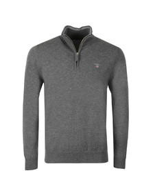 Gant Mens Grey Super Fine Lambswool Zip Jumper