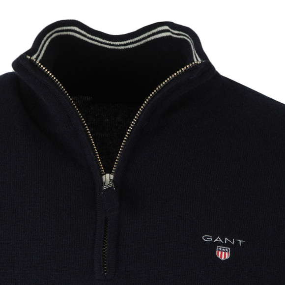 Gant Mens Blue Super Fine Lambswool Zip Jumper main image