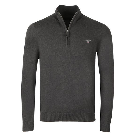 Gant Mens Grey Cotton 1/2 Zip Jumper main image
