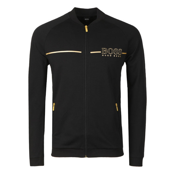 BOSS Loungewear Mens Black Gold Logo Tracksuit Jacket main image