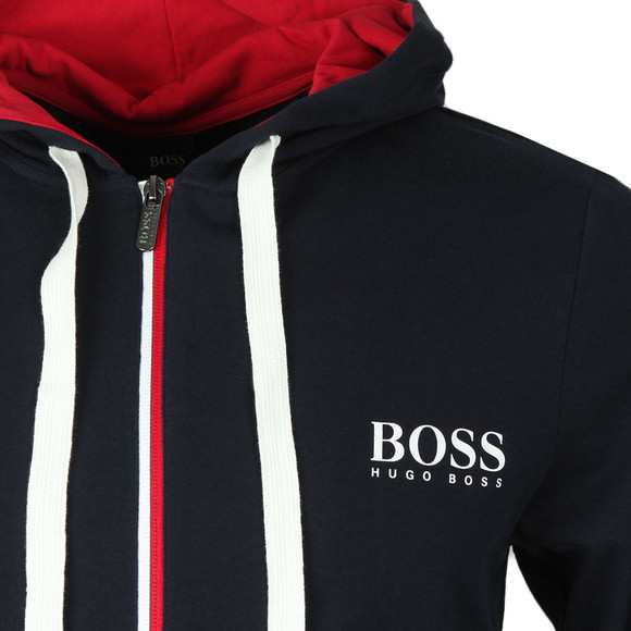 BOSS Bodywear Mens Blue White Logo Full Zip Hoody main image