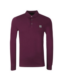 BOSS Casualwear Mens Purple Passerby Long Sleeve Polo Shirt