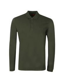 HUGO Mens Green Donol LS Tipped Polo Shirt
