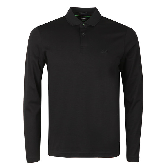 BOSS Mens Black Athleisure Pirol Long Sleeve Polo Shirt