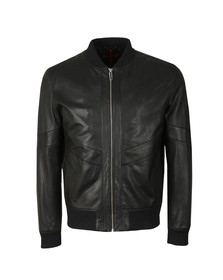 HUGO Mens Black Lachlan Leather Jacket