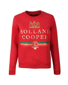 Holland Cooper Womens Red Sportswear  Luxe Stripe Crew Sweat