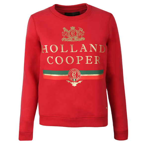 Holland Cooper Womens Red Sportswear  Luxe Stripe Crew Sweat main image