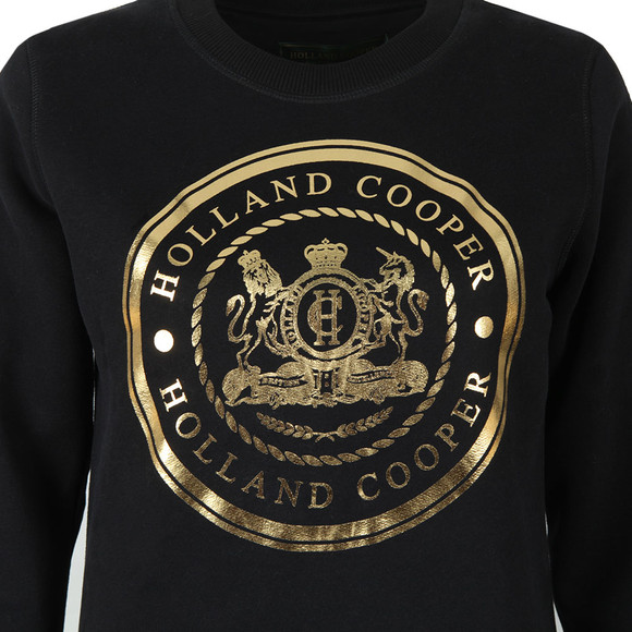 Holland Cooper Womens Black Sportswear Luxe Crest Crew Sweat main image