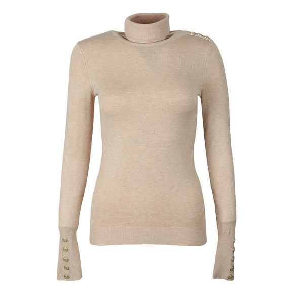 Holland Cooper Womens Brown Buttoned Roll Neck Knit main image