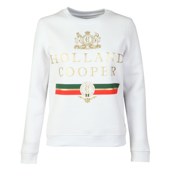 Holland Cooper Womens White Sportswear  Luxe Stripe Crew Sweat main image