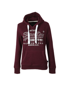 Superdry Womens Red Premium Goods Rhinestone Entry Hoody