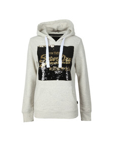 Superdry Womens Beige Premium Sequin Entry Hoody