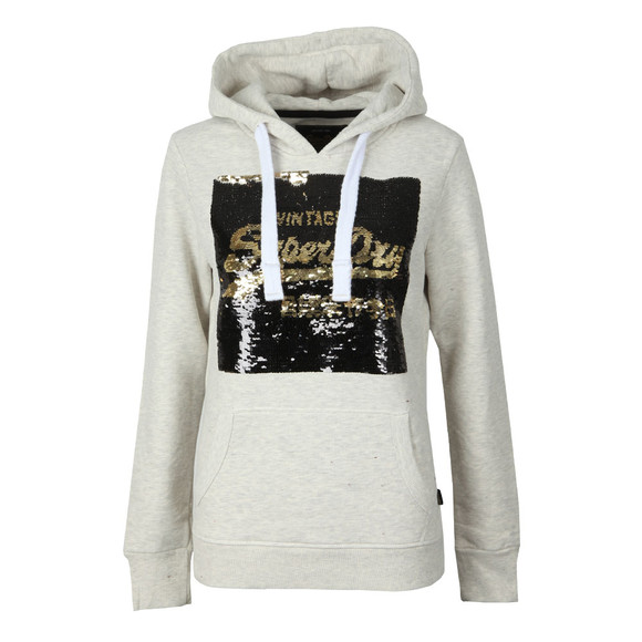 Superdry Womens Beige Premium Sequin Entry Hoody main image