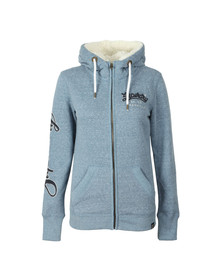 Superdry Womens Blue Aria Applique Zip Hoody