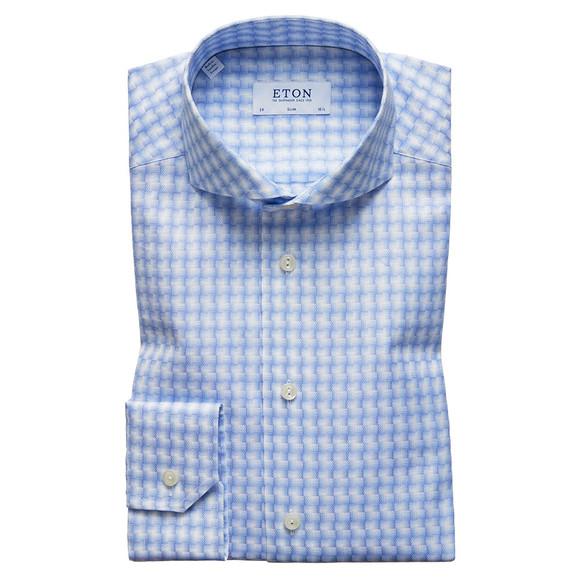 Eton Mens Blue Slim Check Twill Shirt main image