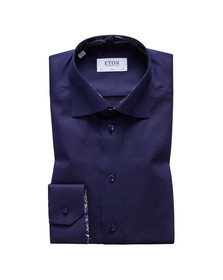Eton Mens Blue Signature Twill Paisley Detail Shirt