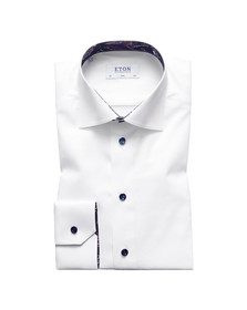 Eton Mens White Signature Twill Paisley Detail Shirt