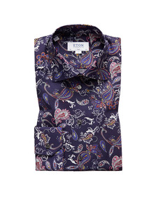 Eton Mens Blue All Over Paisley Shirt
