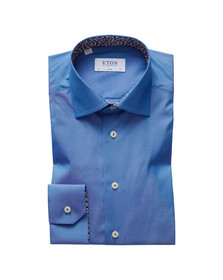 Eton Mens Blue Floral Detail Slim Shirt