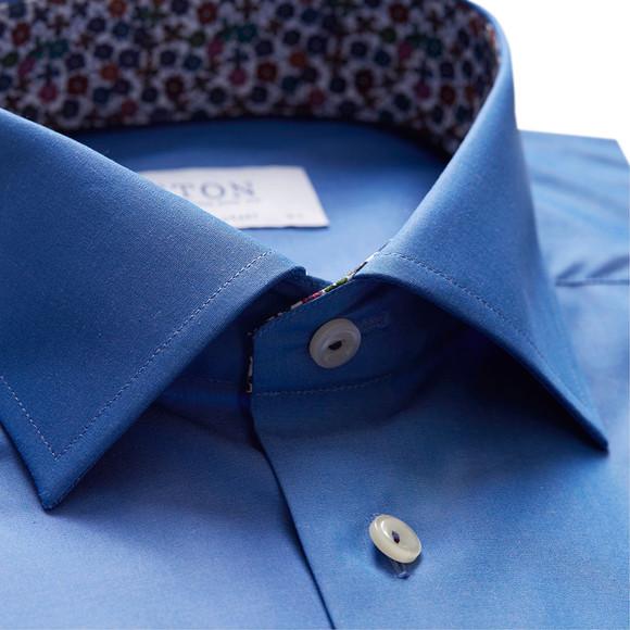 Eton Mens Blue Floral Detail Slim Shirt