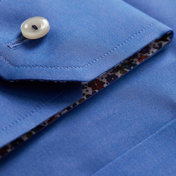 Eton Mens Blue Floral Detail Slim Shirt main image