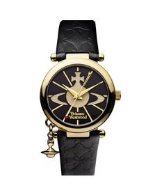 Vivienne Westwood Womens Black Orb II Gold Plated Watch