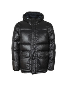 Tommy Hilfiger Mens Black Shiny Hooded Down Jacket