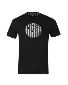 Pretty Green Mens Black Stripe Print Logo T-Shirt