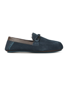 Ted Baker Mens Blue Valcent Suede Slippers