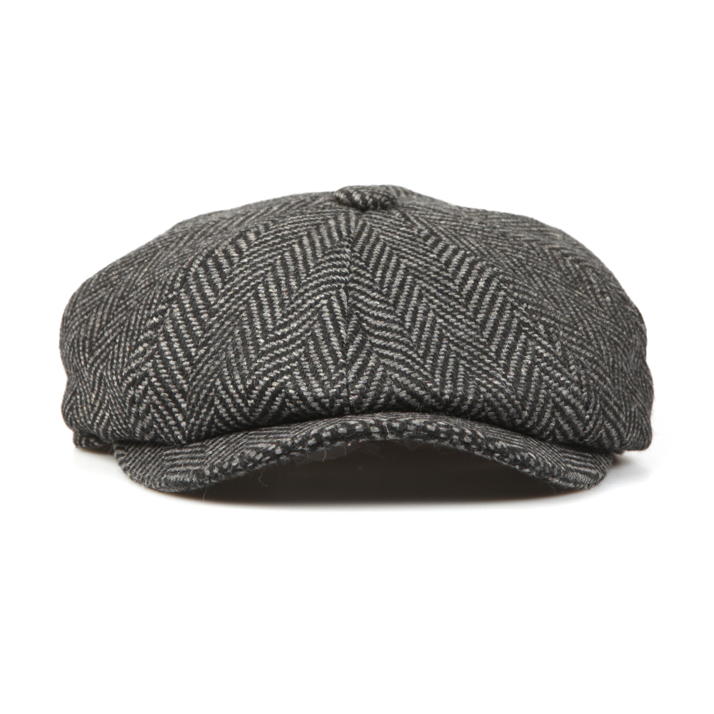 Barbour Lifestyle Mens Grey Herringbone Bakerboy Cap b7e2c0a6352