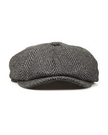 Barbour Lifestyle Mens Grey Herringbone Bakerboy Cap